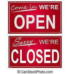 """beeld, zakelijk, signs., """"open"""", """"closed"""""""
