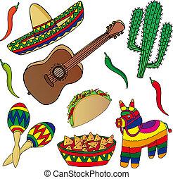 beelden, mexicaanse , set, gevarieerd
