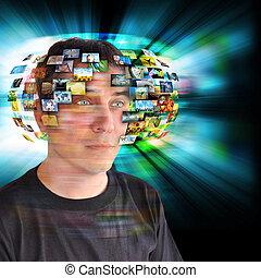 beelden, televisie, technologie, man
