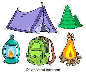 beelden, verzameling, kamperen