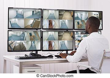 beeldmateriaal, anwender, veelvoudig, het kijken, fototoestel