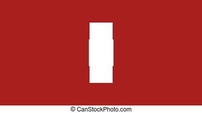 beeldmateriaal, -, vrijstaand, loopable, matte., achtergrond., animatie, alfa, kruis, omwenteling, wit rood, 3d