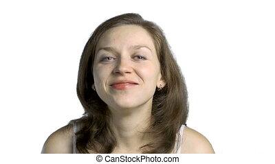 beeldmateriaal, vrouw glimlachen, vrolijke