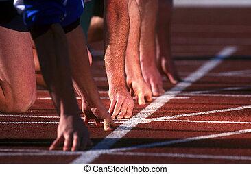 begin lijn, renners, op, race.