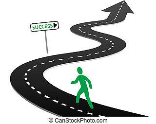 beginnen, succes, bochten, reis, initiatief, snelweg