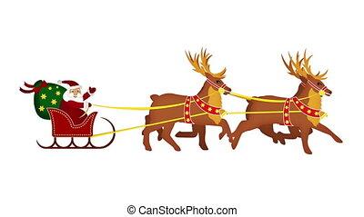 begroet, sleight, claus, kerstman