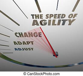 behendigheid, snelheidsmeter, aanpassing, snel, snelheid, veranderen