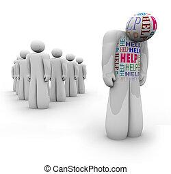 behoeftes, helpen, hulp, -, verdrietige , persoon, alleen