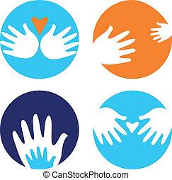 behulpzaam, iconen, vrijstaand, verdragend, handen, witte