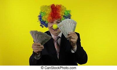 bejaarden, clown, baas, businesswoman, dancing, freelancer, geld, contant
