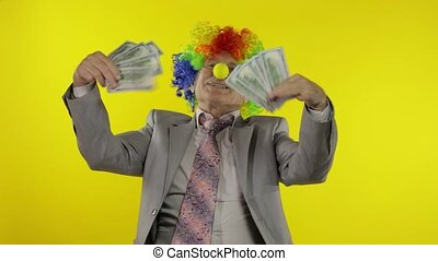 bejaarden, clown, baas, ondernemer, zakenman, dancing, geld, contant