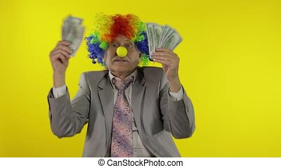 bejaarden, dollar, clown, zakenman, dancing, freelancer, geld, contant