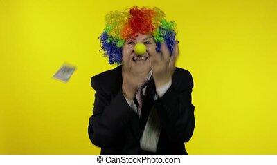 bejaarden, ontvangen, clown, vieren, dancing, businesswoman, freelancer, geld, contant
