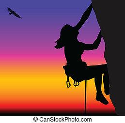 beklimming, vrouw, rots