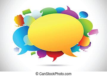 bel, kleurrijke, praatje