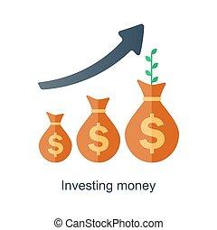belangstelling, concept., inkomen, geld., fonds, vector, tijd, growth., samengesteld, plan., toekomst, pensioen