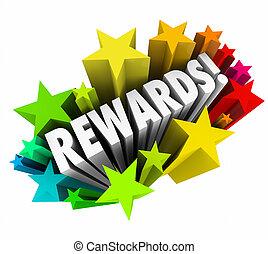 beloningen, woord, prijs, bonus, aansporing, sterretjes, verlokking, 3d