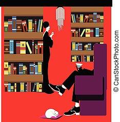 bemannen illustratie, zittende , bibliotheek
