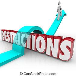 beperkingen, woord, regels, overcomin, op, regelingen, springt, richtingwijzer