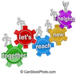 bereiken, samen, hoogten, verhuur ons, toestellen, team, nieuw