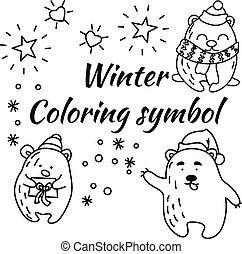 beren, doodle, set, vector