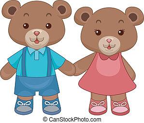beren, teddy, speelbal, holdingshanden