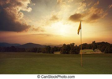 berg, golf, zonopkomst, cursus