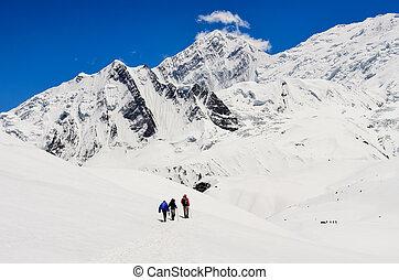 berg, groep, winter, himalayas, nepal, hoog, trekkers, kleine, bergen