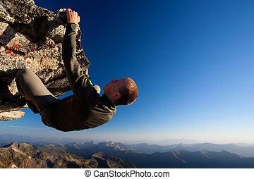 berg, jonge, hoog, verbreidingsgebied, boven, bergbeklimming, man