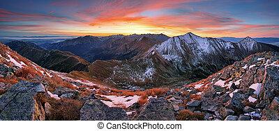 berg, kleurrijke, panorama, slowakije, landscape, zonopkomst