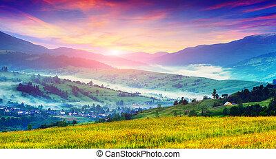 berg landschap, village., zomer