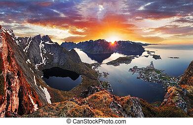 berg, noorwegen, ondergaande zon , landscape, kust