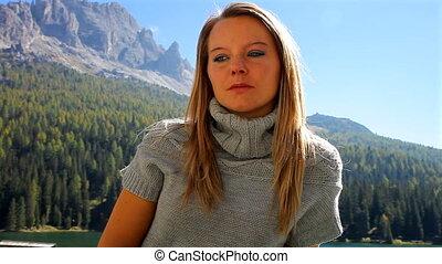 berg, vrouw, verdrietige