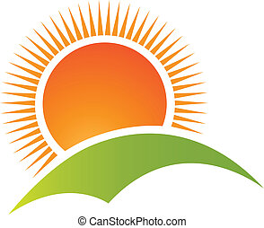 berg, zon, logo, vector, heuvel