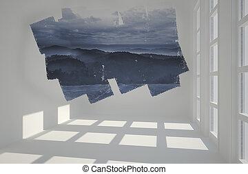 bergen, abstract, het tonen, scherm, kamer
