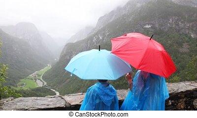 bergen, blik, moeder, zoon, onder, vallei, paraplu's