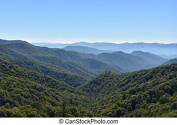 bergen, groot, park, rokerig, nationale