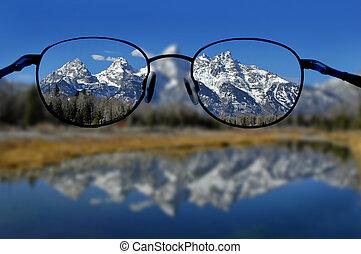 bergen, heldere blik, bril