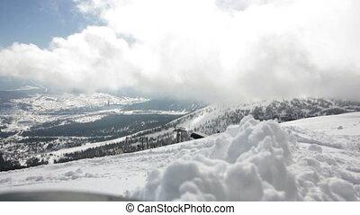 bergen, schilderachtig, besneeuwd, zonnige dag, aanzicht