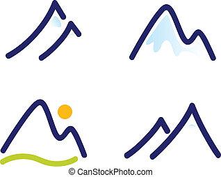 bergen, set, heuvels, besneeuwd, iconen, vrijstaand, witte , of