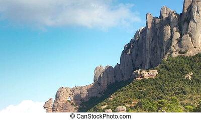 bergen, timelapse, catalonië, montserrat, majestueus, beroemd, barcelona, panning, spanje