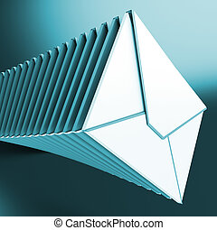 berichten, opgestapelde, computer, inbox, enveloppen, optredens