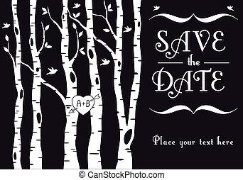 berk, uitnodiging, trouwfeest, bomen