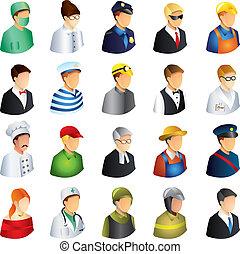 beroepen, vector, set, mensen, iconen