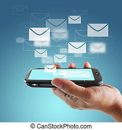beroeren, beweeglijk, scherm, telefoon