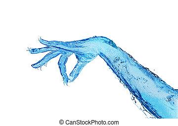 beroeren, hand, huid, houden, water, gebaar, gemaakt