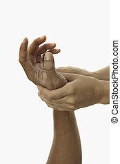 beroeren, handen, masseus's, het helen