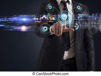 beroeren, interface, scherm, futuristisch