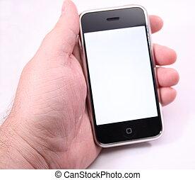 beroeren, telefoon, scherm, moderne, witte