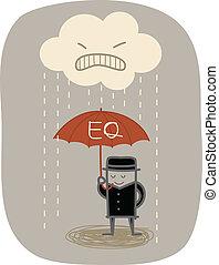 beschermen, paraplu, boos, gebruiken, regen, zakenman, eq